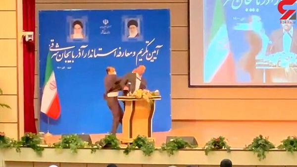 سیلی زدن به استاندار جدید آذربایجان شرقی در جلسه معارفه! + فیلم